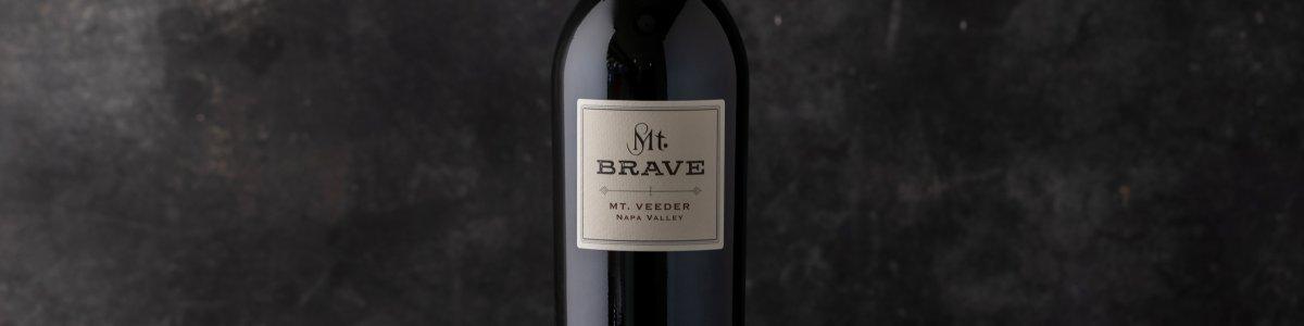 Mt. Brave Bottle of wine against a dark background