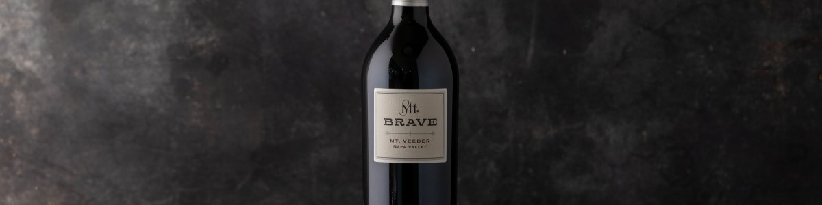 Mt. Brave Bottle of wine against a dark background